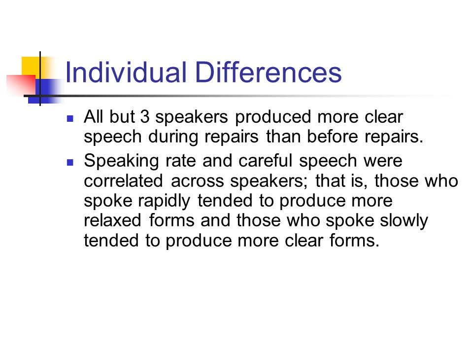 Individual Differences All but 3 speakers produced more clear speech during repairs than before repairs. Speaking rate and careful speech were correla