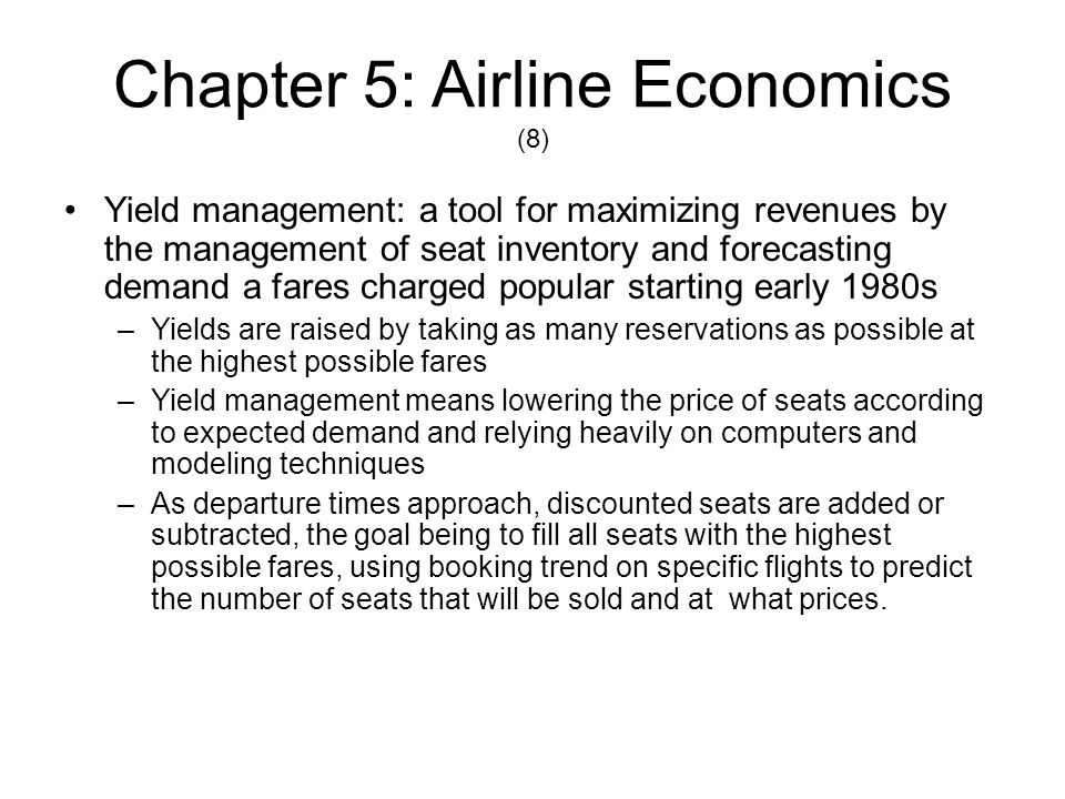 Chapter 5: Airline Economics (9) Hub-and-Spoke Economics –Hub-and-spoke concept in the 1980s In theory, the hub concept worked to the airlines financial benefit.