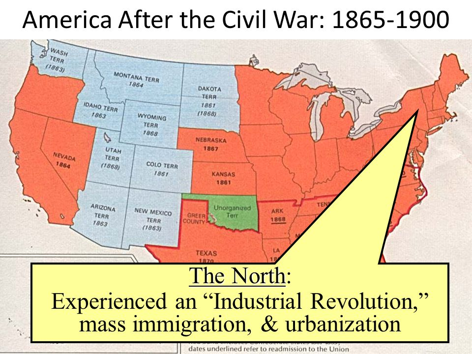 America After the Civil War: 1865-1900 The North The North: Experienced an Industrial Revolution, mass immigration, & urbanization