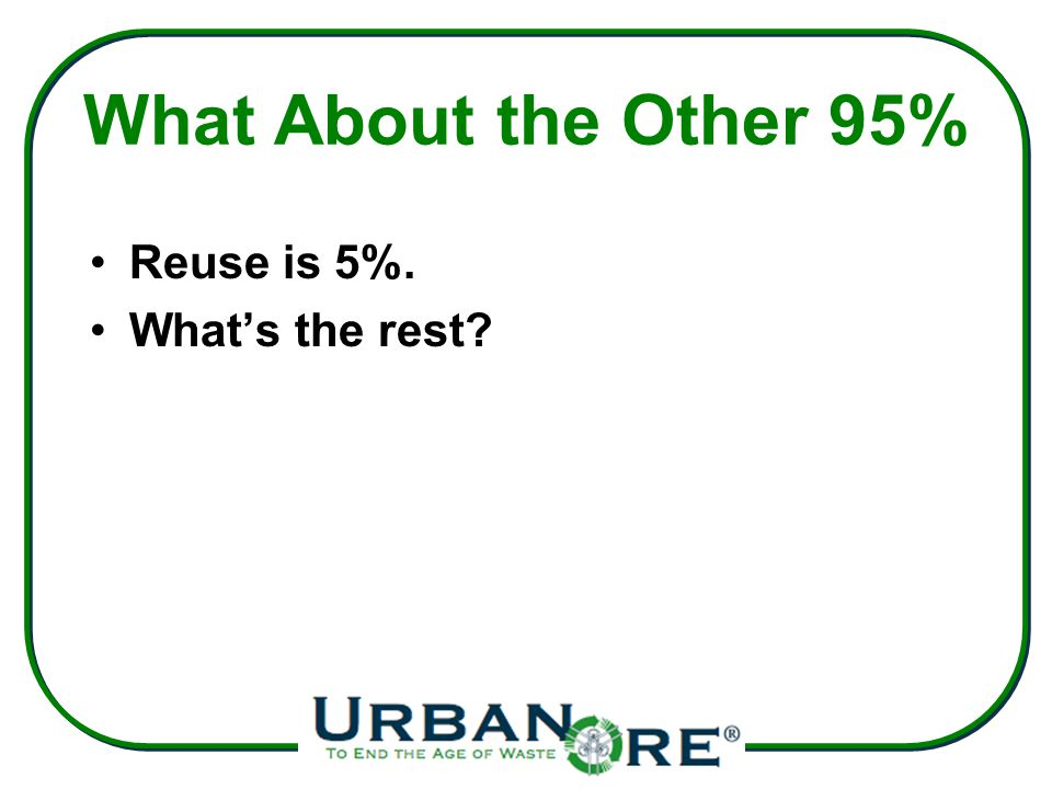 What About the Other 95% Reuse is 5%. What's the rest?