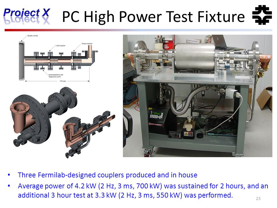 PC High Power Test Fixture 23 Three Fermilab-designed couplers produced and in house Average power of 4.2 kW (2 Hz, 3 ms, 700 kW) was sustained for 2