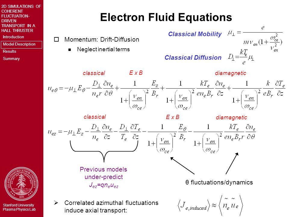 Introduction Model Description Results Summary 2D SIMULATIONS OF COHERENT FLUCTUATION- DRIVEN TRANSPORT IN A HALL THRUSTER Stanford University Plasma Physics Lab Electron Fluid Equations oMomentum: Drift-Diffusion n Neglect inertial terms  Correlated azimuthal fluctuations induce axial transport: Classical Mobility Previous models under-predict J ez =qn e u ez θ fluctuations/dynamics classical E x B diamagnetic Classical Diffusion classical E x B diamagnetic