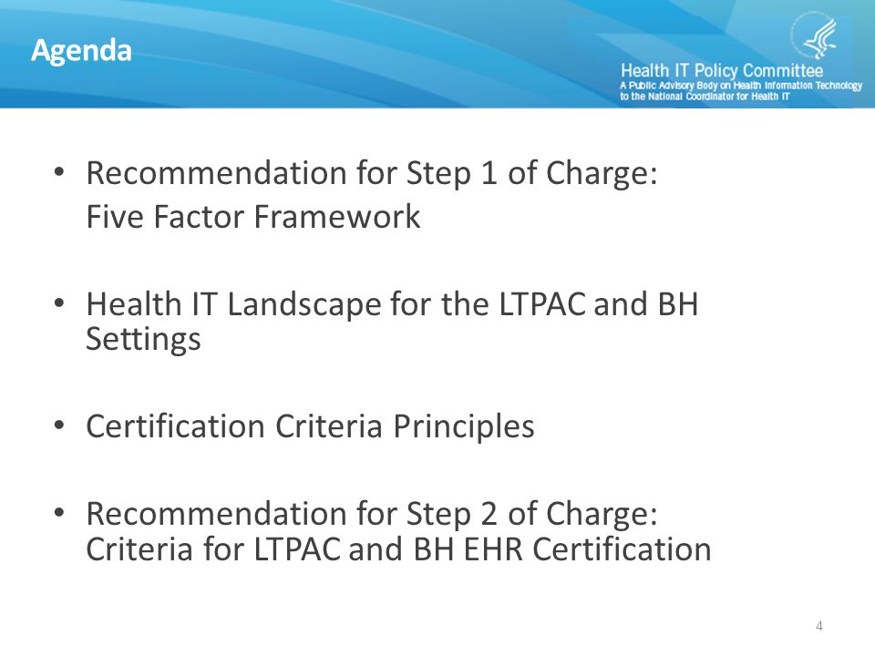Setting Specific Criteria Recommendations 25 Patient Assessments Survey and Certification LTPAC Setting Specific Criteria Patient Assessments Consent Management (included under Enhancements to Privacy and Security) BH Setting Specific Criteria