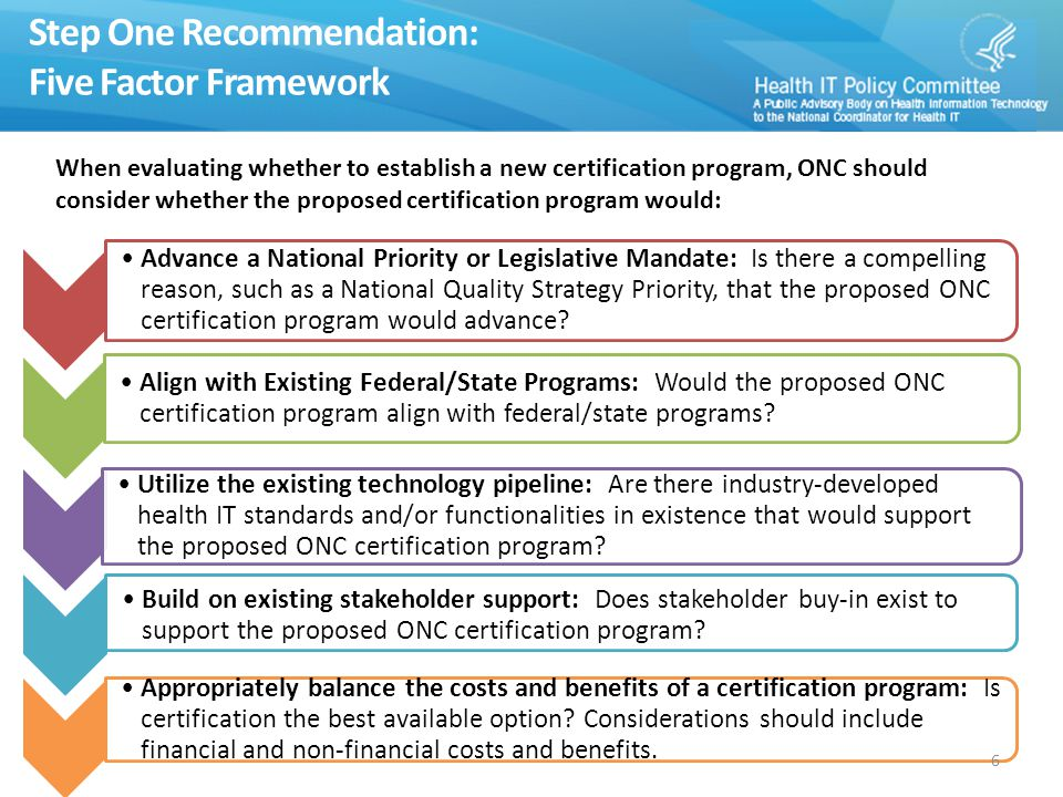 Step One Recommendation: Five Factor Framework Advance a National Priority or Legislative Mandate: Is there a compelling reason, such as a National Quality Strategy Priority, that the proposed ONC certification program would advance.