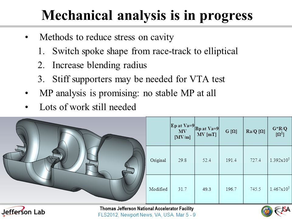 FLS2012, Newport News, VA, USA. Mar 5 - 9 Mechanical analysis is in progress Methods to reduce stress on cavity 1.Switch spoke shape from race-track t