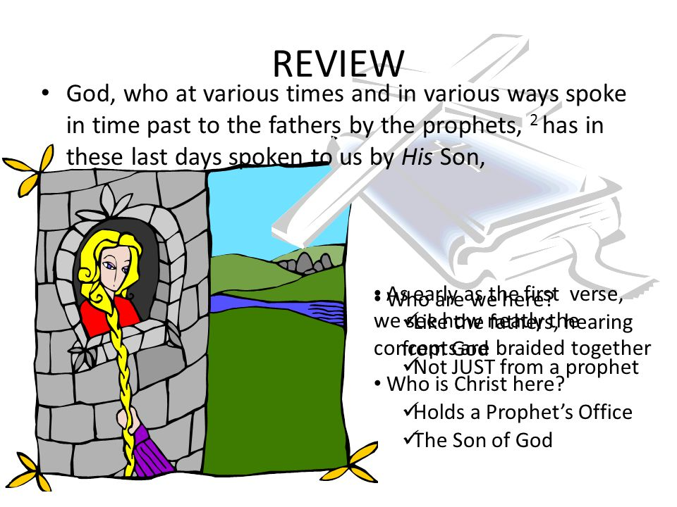 REVIEW God, who at various times and in various ways spoke in time past to the fathers by the prophets, 2 has in these last days spoken to us by His Son, As early as the first verse, we see how neatly the concepts are braided together Who is Christ here.