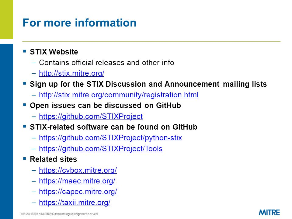 © 2013 The MITRE Corporation. All rights reserved.