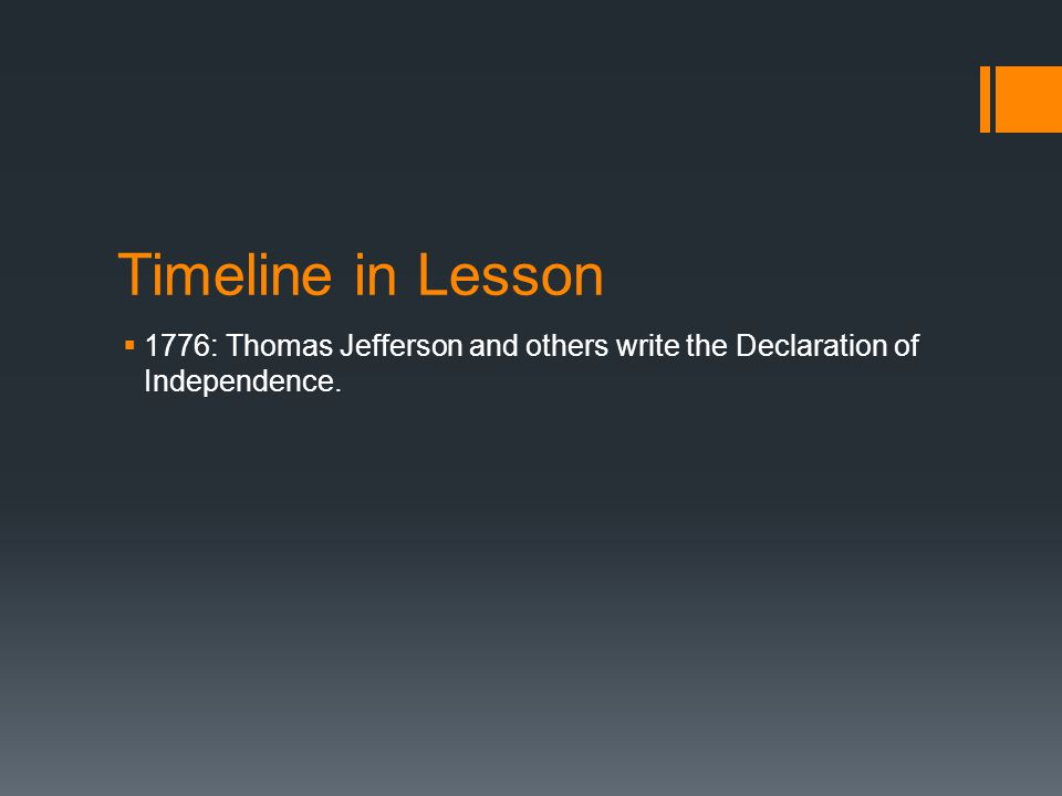 Timeline in Lesson  1776: Thomas Jefferson and others write the Declaration of Independence.