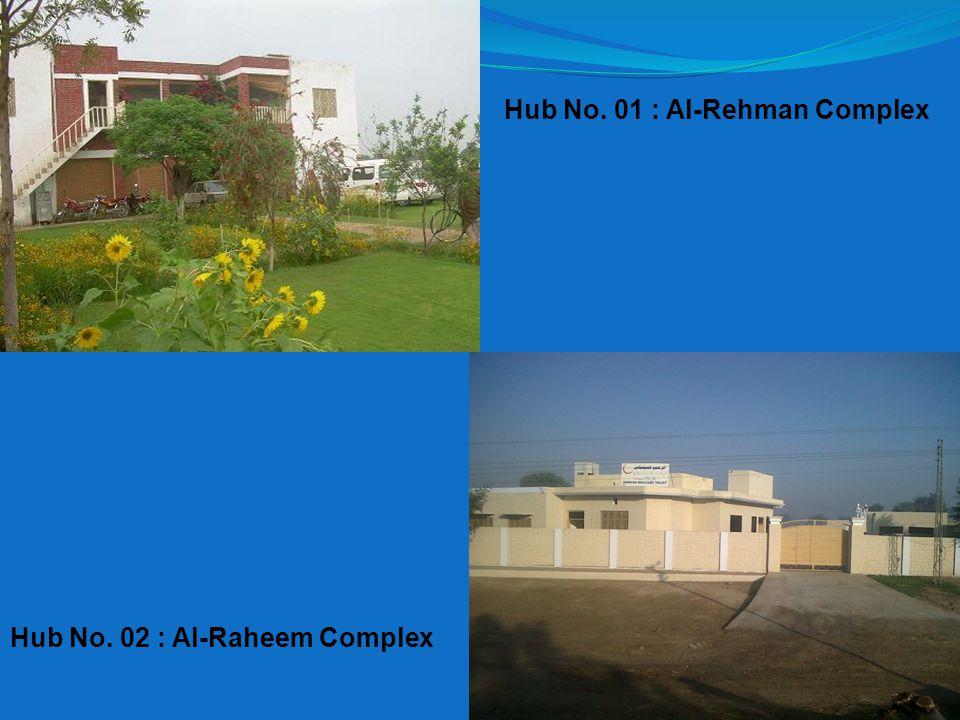 Hub No. 01 : Al-Rehman Complex Hub No. 02 : Al-Raheem Complex