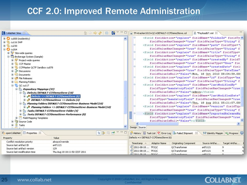 CCF 2.0: Improved Remote Administration 25 Copyright © 2008 CollabNet, Inc. All Rights Reserved. Confidential