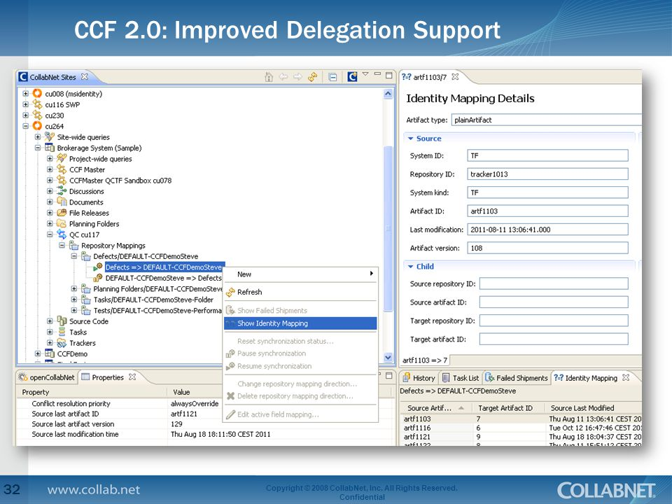 CCF 2.0: Improved Delegation Support 32 Copyright © 2008 CollabNet, Inc.