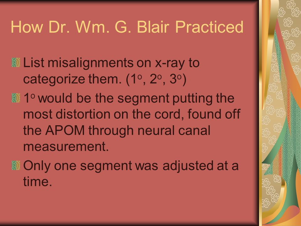 How Dr. Wm. G. Blair Practiced List misalignments on x-ray to categorize them.