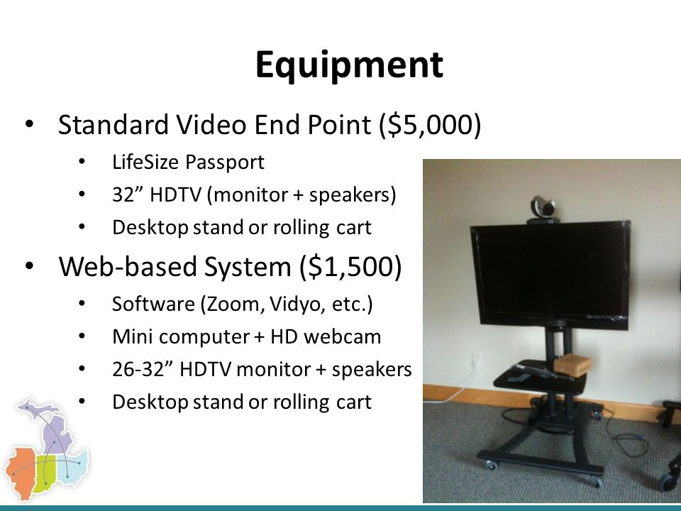 Equipment Standard Video End Point ($5,000) LifeSize Passport 32 HDTV (monitor + speakers) Desktop stand or rolling cart Web-based System ($1,500) Software (Zoom, Vidyo, etc.) Mini computer + HD webcam 26-32 HDTV monitor + speakers Desktop stand or rolling cart