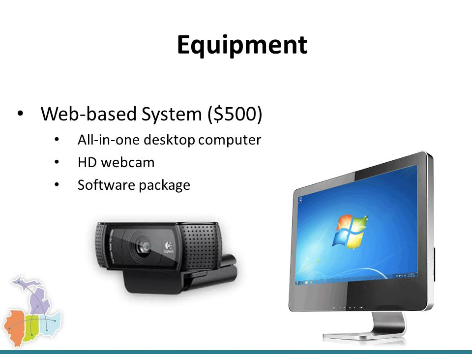 Equipment Web-based System ($500) All-in-one desktop computer HD webcam Software package