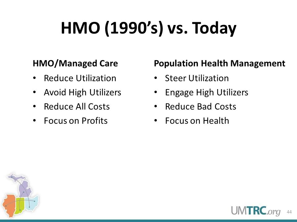 HMO (1990's) vs. Today HMO/Managed Care Reduce Utilization Avoid High Utilizers Reduce All Costs Focus on Profits Population Health Management Steer U
