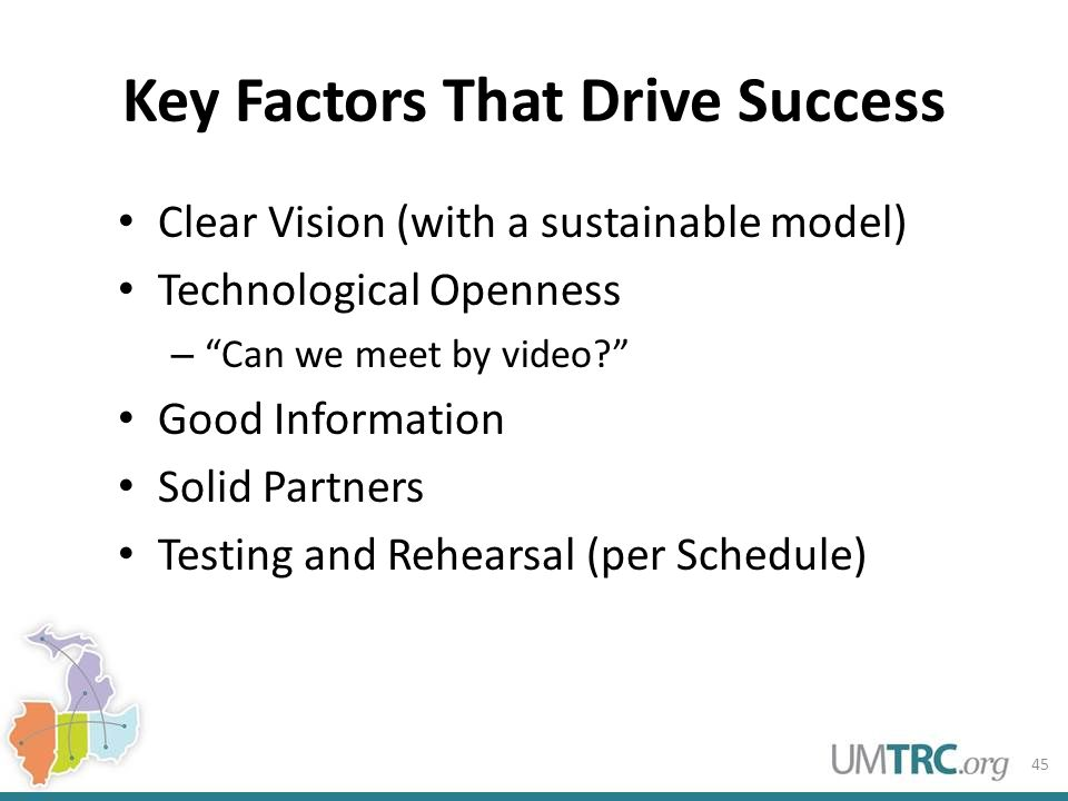 Key Factors That Drive Success Clear Vision (with a sustainable model) Technological Openness – Can we meet by video Good Information Solid Partners Testing and Rehearsal (per Schedule) 45