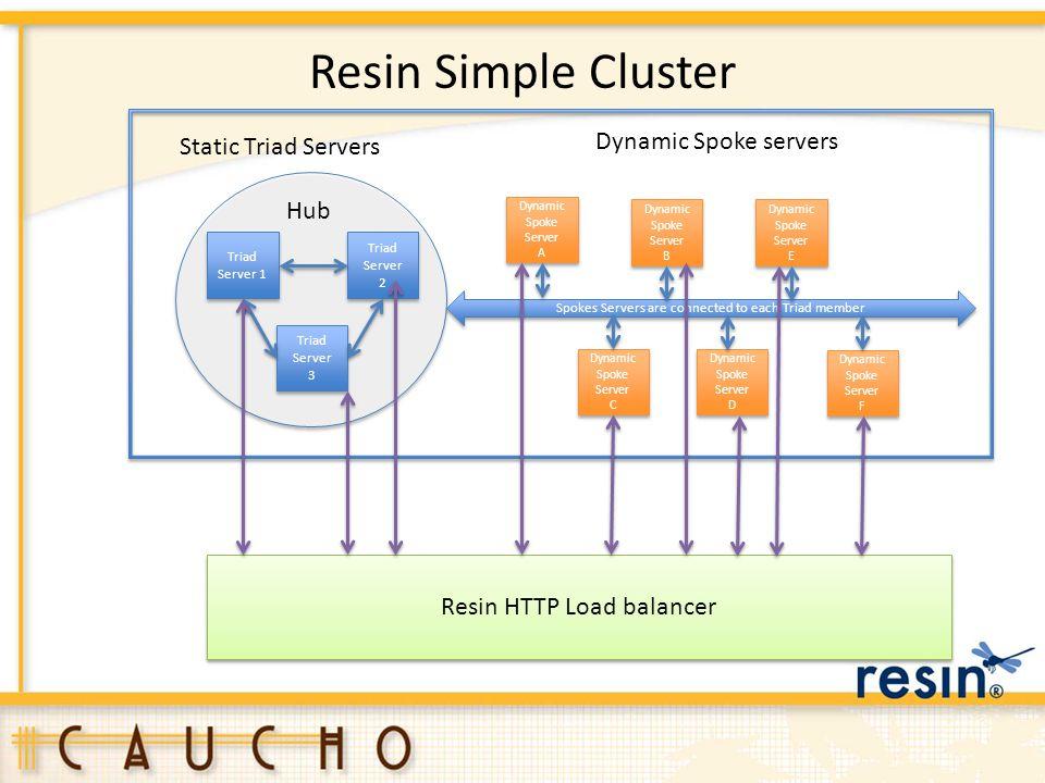 Resin Simple Cluster Triad Server 1 Triad Server 3 Triad Server 3 Triad Server 2 Triad Server 2 Dynamic Spoke Server A Dynamic Spoke Server A Dynamic