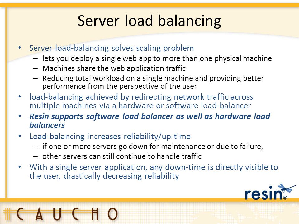 Server load balancing Server load-balancing solves scaling problem – lets you deploy a single web app to more than one physical machine – Machines sha