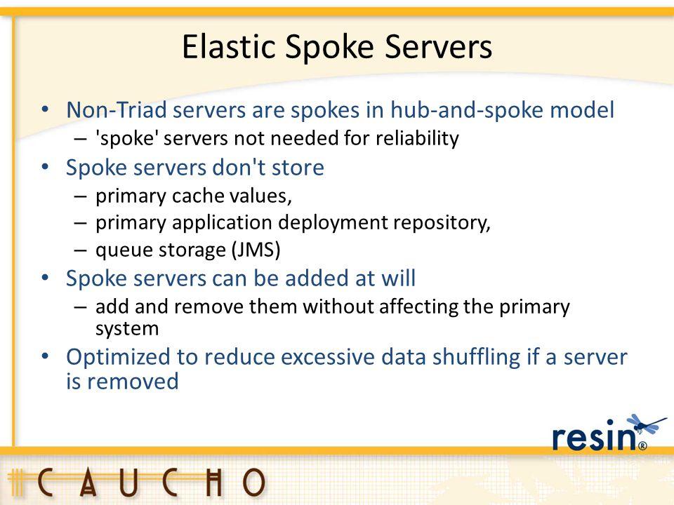 Elastic Spoke Servers Non-Triad servers are spokes in hub-and-spoke model – 'spoke' servers not needed for reliability Spoke servers don't store – pri
