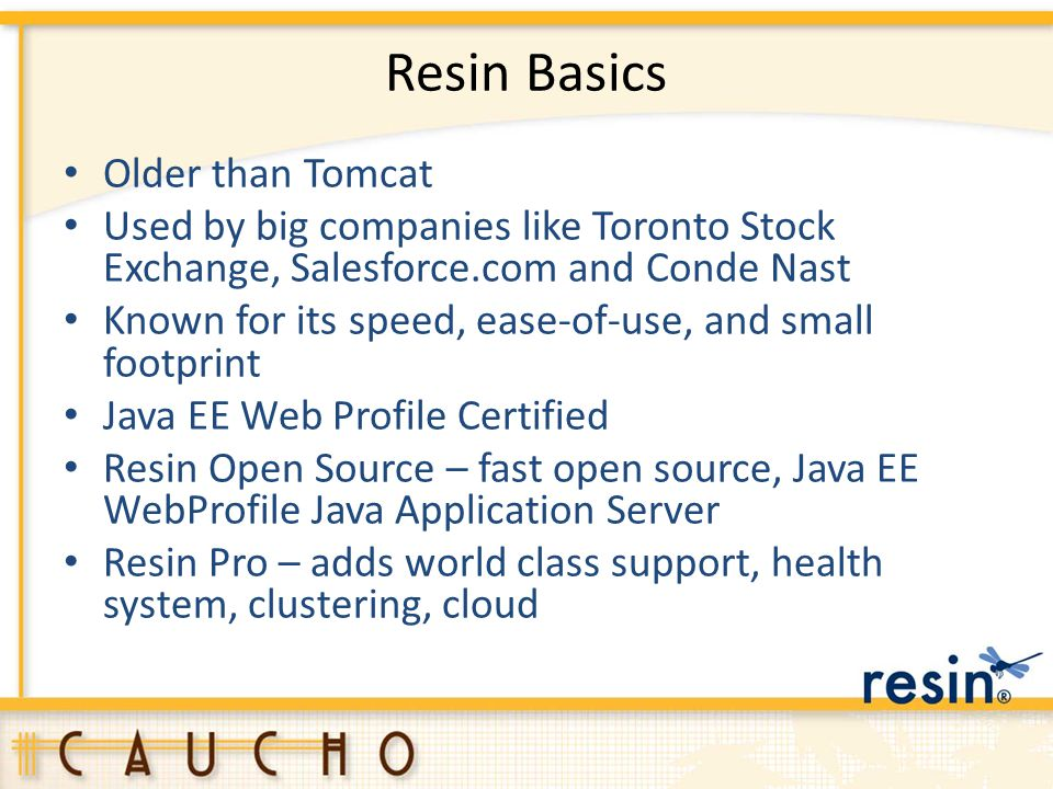 Resin Basics Older than Tomcat Used by big companies like Toronto Stock Exchange, Salesforce.com and Conde Nast Known for its speed, ease-of-use, and