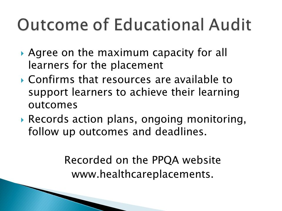  Agree on the maximum capacity for all learners for the placement  Confirms that resources are available to support learners to achieve their learni