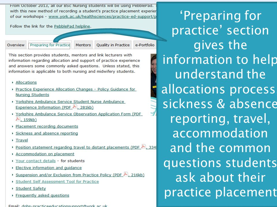 'Preparing for practice' section gives the information to help understand the allocations process, sickness & absence reporting, travel, accommodation