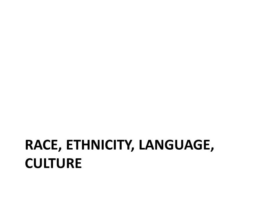 RACE, ETHNICITY, LANGUAGE, CULTURE