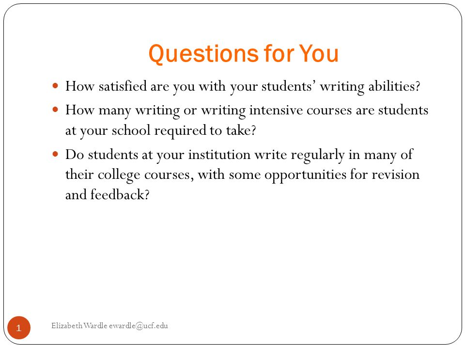 Questions for You How satisfied are you with your students' writing abilities.