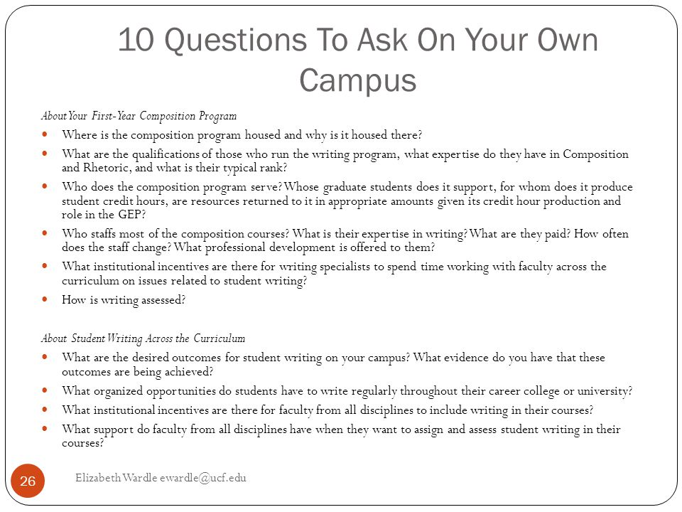 10 Questions To Ask On Your Own Campus About Your First-Year Composition Program Where is the composition program housed and why is it housed there.