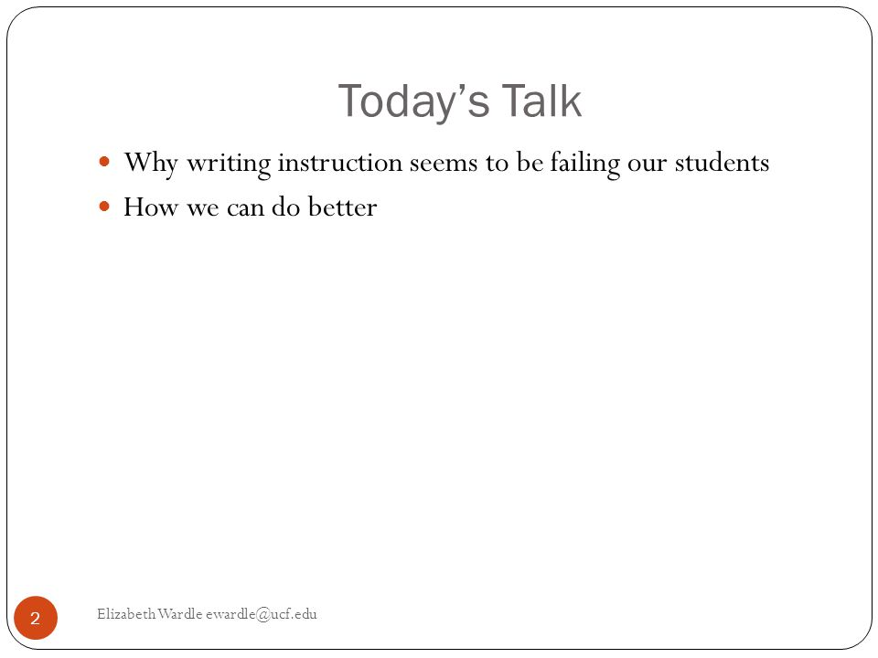 Why Can't Students Write.