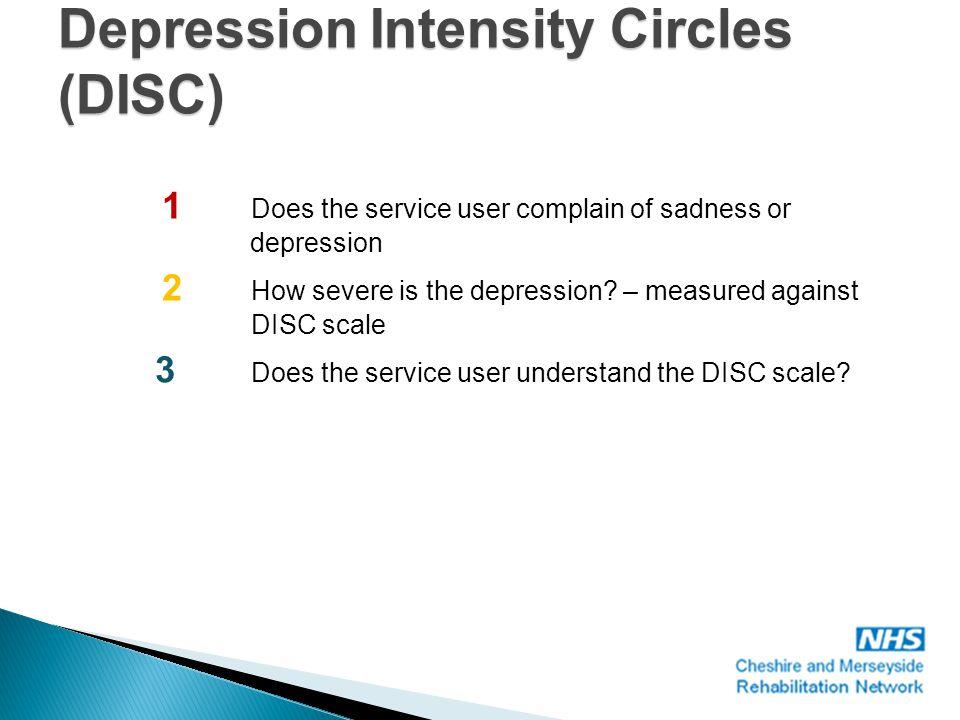 No depression Most severe depression 1.Yale question: Do you often feel sad or depressed.