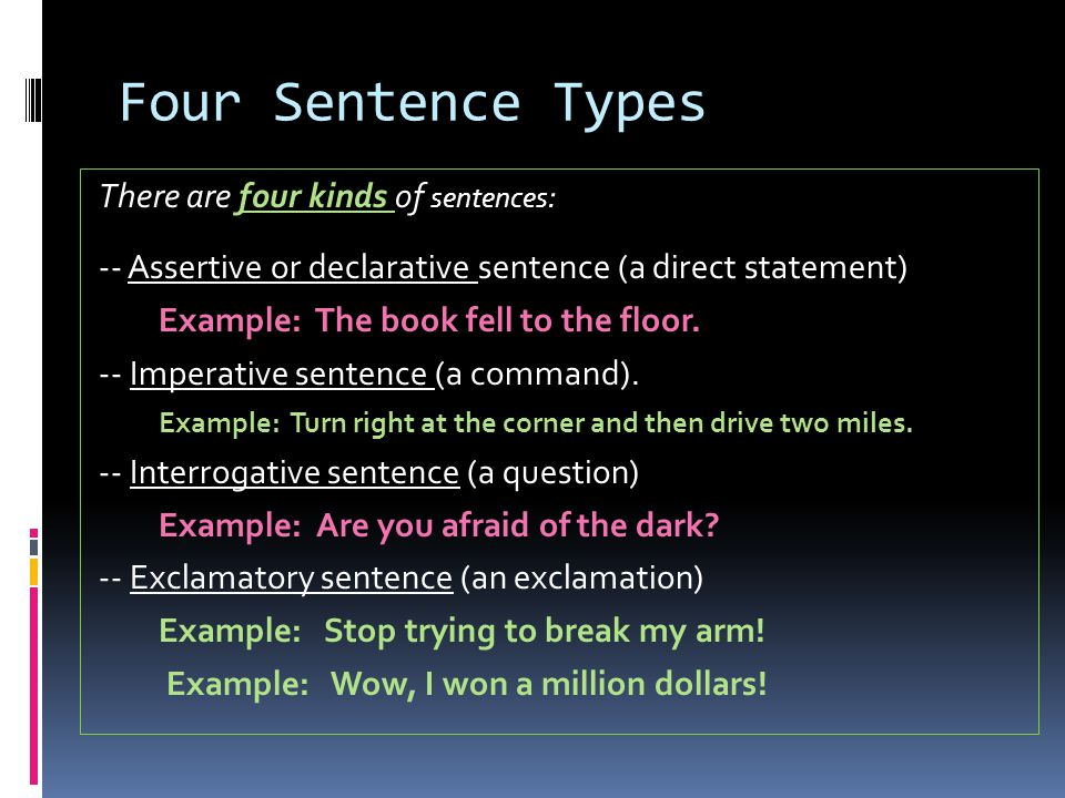 Four Sentence Types There are four kinds of sentences : -- Assertive or declarative sentence (a direct statement) Example: The book fell to the floor.