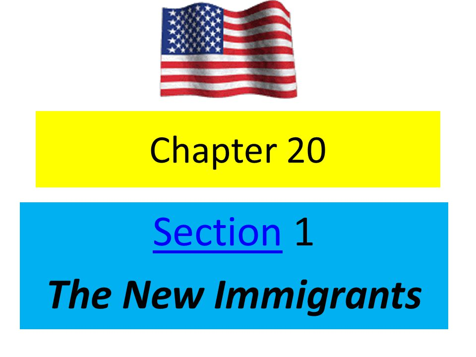 Chapter 20 SectionSection 1 The New Immigrants