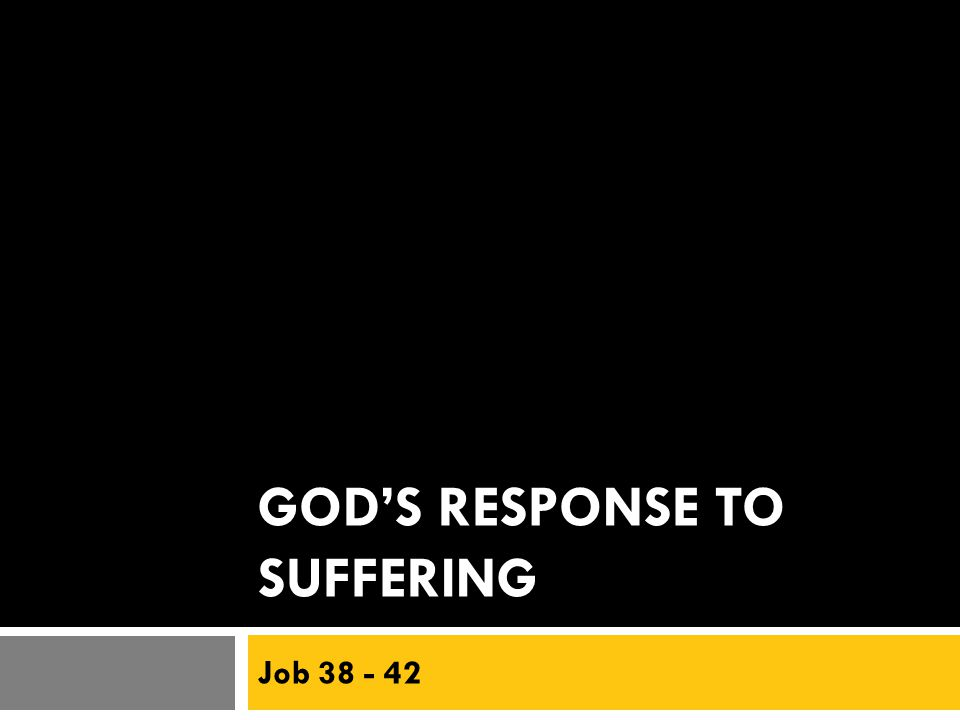 GOD'S RESPONSE TO SUFFERING Job 38 - 42