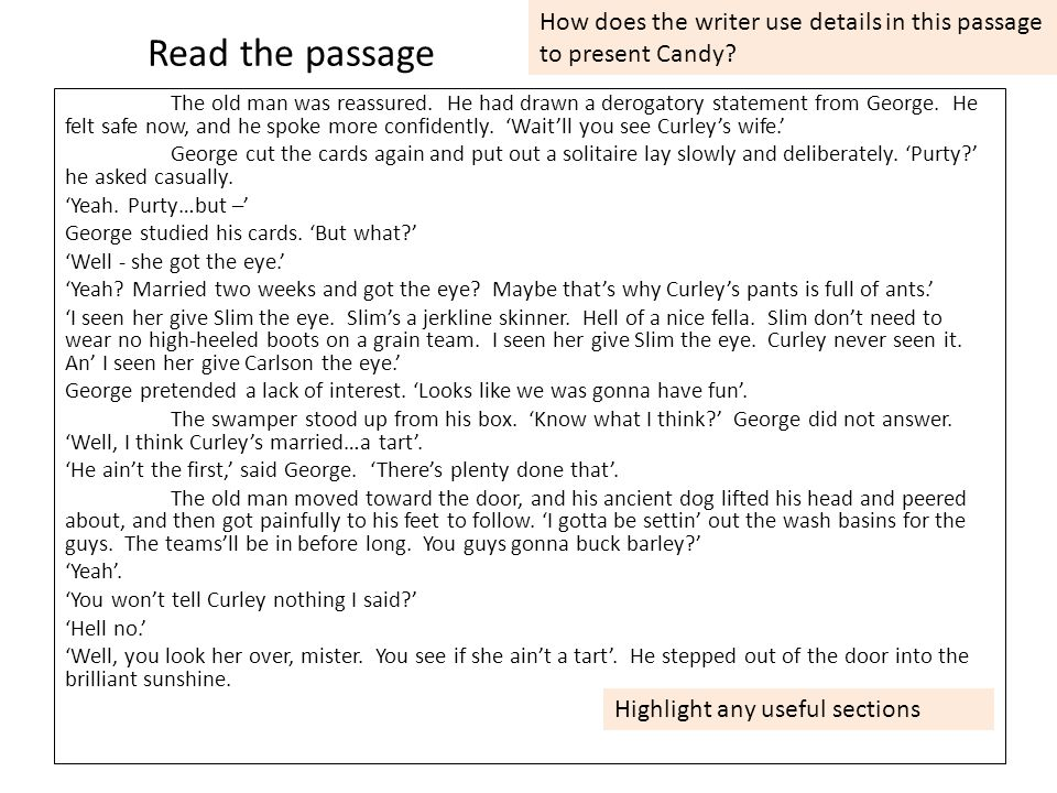 Read the passage The old man was reassured.He had drawn a derogatory statement from George.