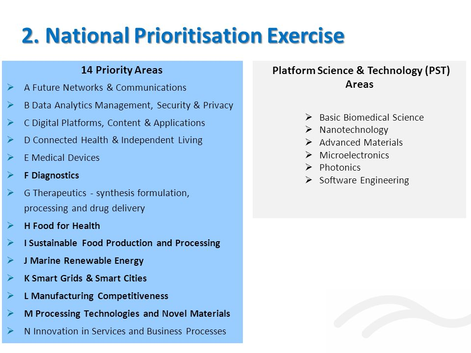 14 Priority Areas  A Future Networks & Communications  B Data Analytics Management, Security & Privacy  C Digital Platforms, Content & Applications  D Connected Health & Independent Living  E Medical Devices  F Diagnostics  G Therapeutics - synthesis formulation, processing and drug delivery  H Food for Health  I Sustainable Food Production and Processing  J Marine Renewable Energy  K Smart Grids & Smart Cities  L Manufacturing Competitiveness  M Processing Technologies and Novel Materials  N Innovation in Services and Business Processes 2.
