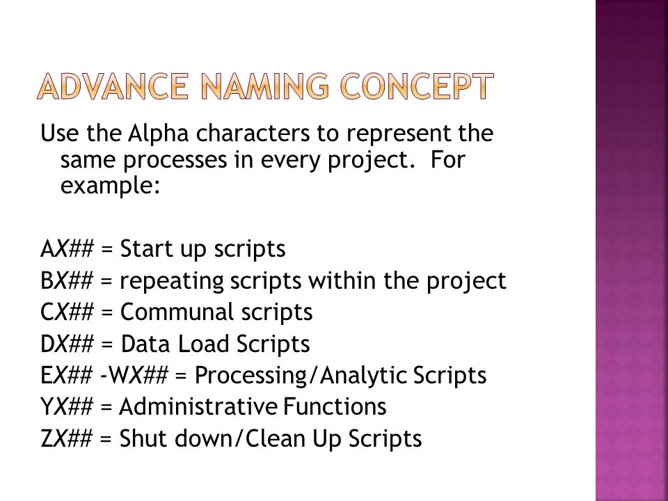 Use the Alpha characters to represent the same processes in every project. For example: AX## = Start up scripts BX## = repeating scripts within the pr