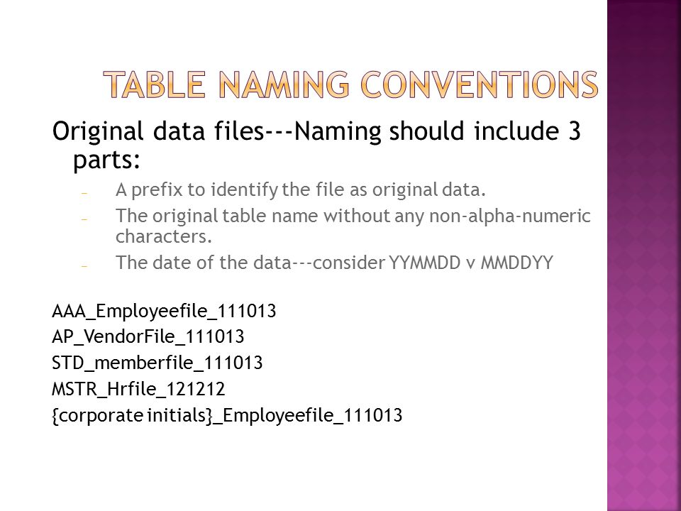 Original data files---Naming should include 3 parts: – A prefix to identify the file as original data.