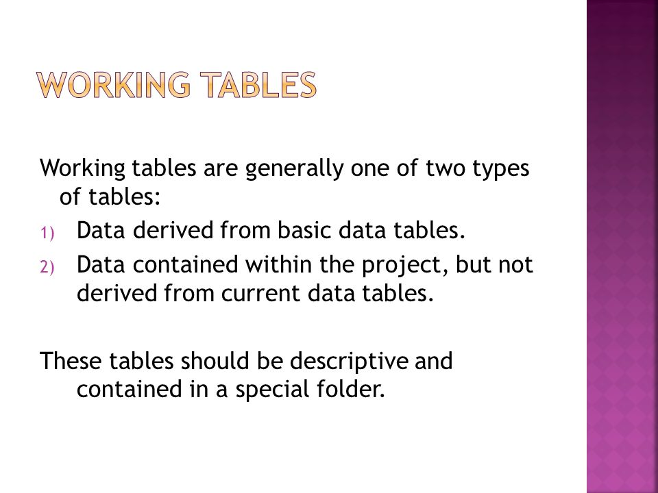 Working tables are generally one of two types of tables: 1) Data derived from basic data tables.
