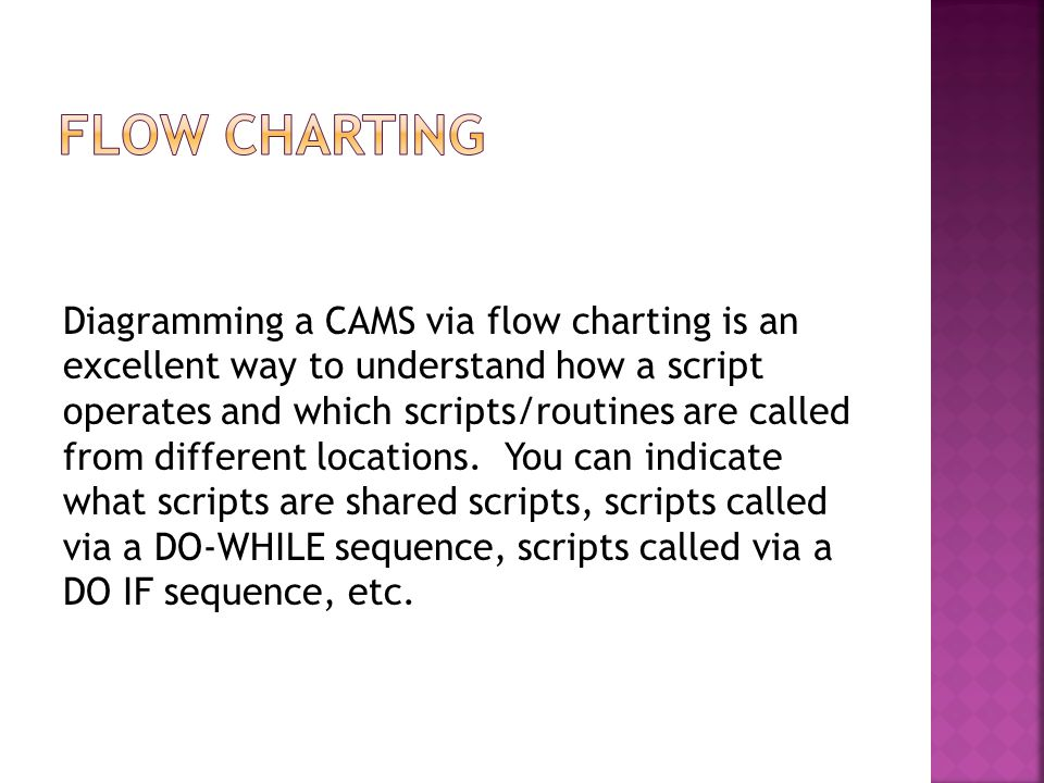 Diagramming a CAMS via flow charting is an excellent way to understand how a script operates and which scripts/routines are called from different locations.