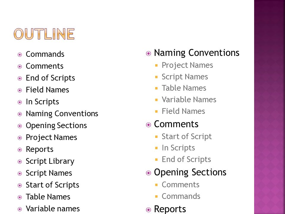 Commands  Comments  End of Scripts  Field Names  In Scripts  Naming Conventions  Opening Sections  Project Names  Reports  Script Library  Script Names  Start of Scripts  Table Names  Variable names  Naming Conventions  Project Names  Script Names  Table Names  Variable Names  Field Names  Comments  Start of Script  In Scripts  End of Scripts  Opening Sections  Comments  Commands  Reports