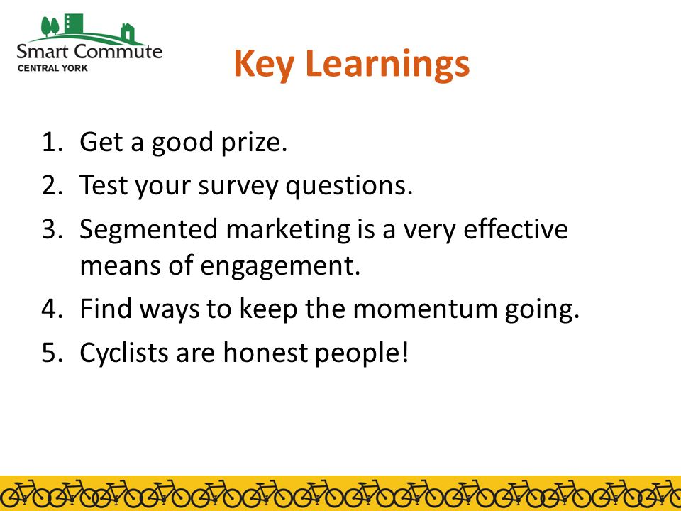 Key Learnings 1.Get a good prize. 2.Test your survey questions.