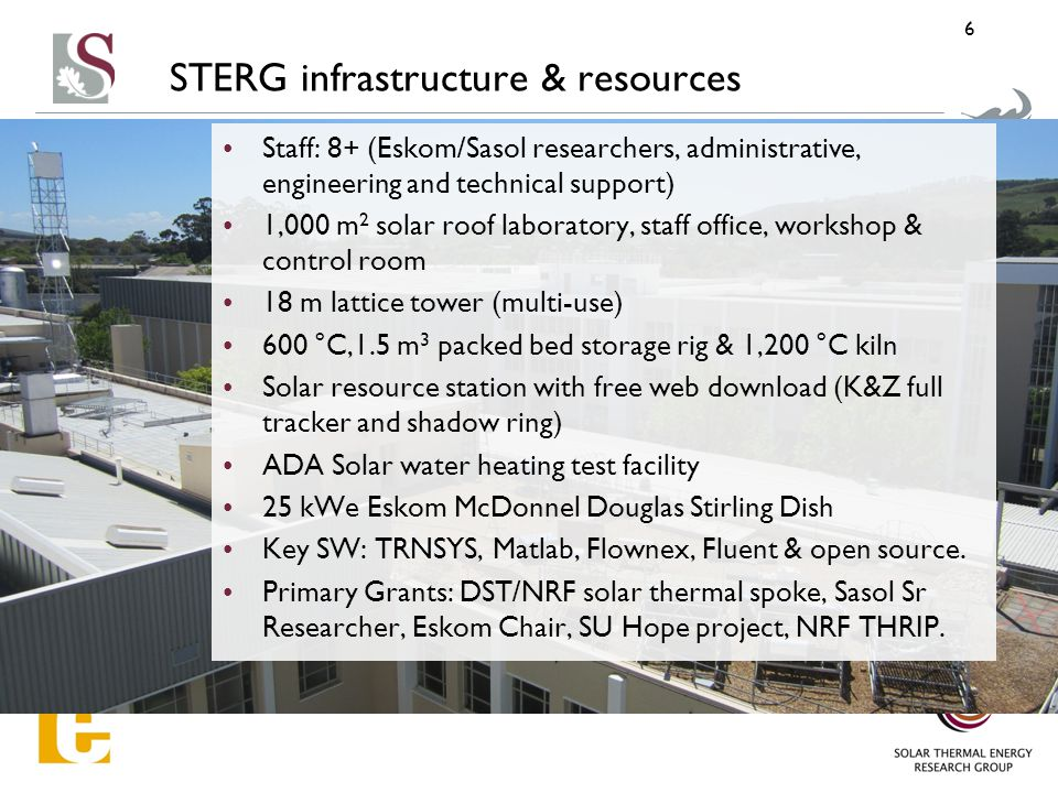 STERG infrastructure & resources Staff: 8+ (Eskom/Sasol researchers, administrative, engineering and technical support) 1,000 m 2 solar roof laboratory, staff office, workshop & control room 18 m lattice tower (multi-use) 600 °C,1.5 m 3 packed bed storage rig & 1,200 °C kiln Solar resource station with free web download (K&Z full tracker and shadow ring) ADA Solar water heating test facility 25 kWe Eskom McDonnel Douglas Stirling Dish Key SW: TRNSYS, Matlab, Flownex, Fluent & open source.