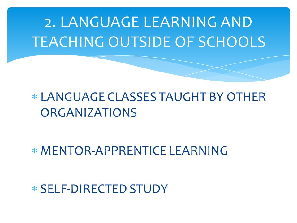  LANGUAGE CLASSES TAUGHT BY OTHER ORGANIZATIONS  MENTOR-APPRENTICE LEARNING  SELF-DIRECTED STUDY 2. LANGUAGE LEARNING AND TEACHING OUTSIDE OF SCHOO