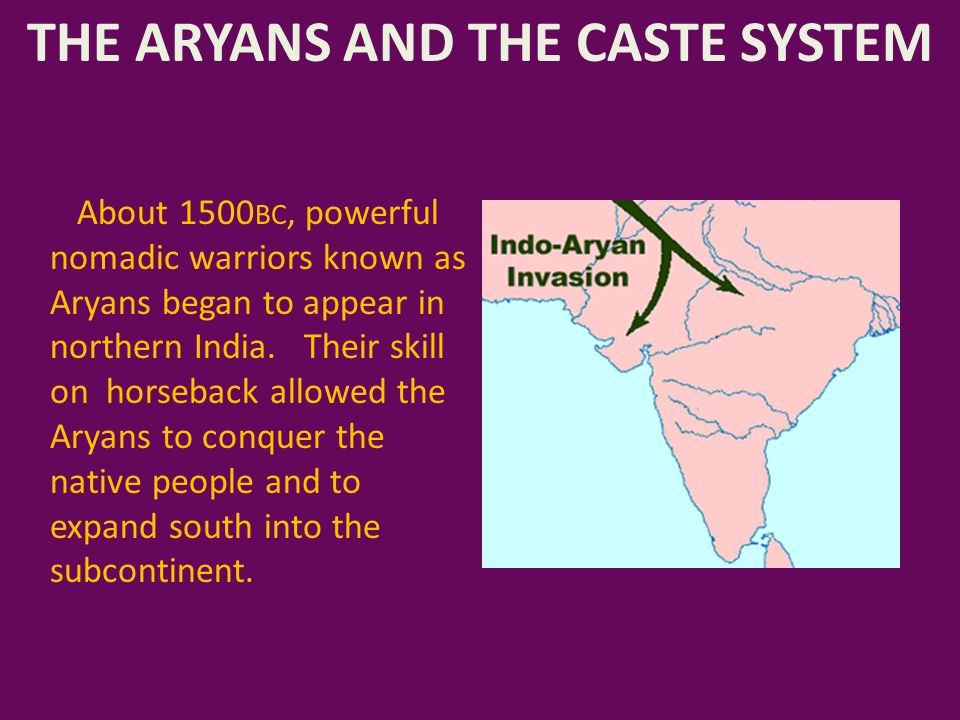 THE ARYANS AND THE CASTE SYSTEM The Aryans spoke Sanskrit, a language that is similar to what is spoken in Europe, but unlike the Dravidian languages spoken in India before the Aryan invasion.