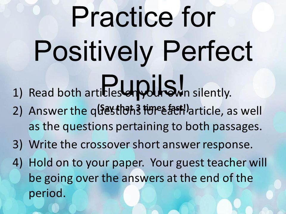 Paired Passages Practice for Positively Perfect Pupils.