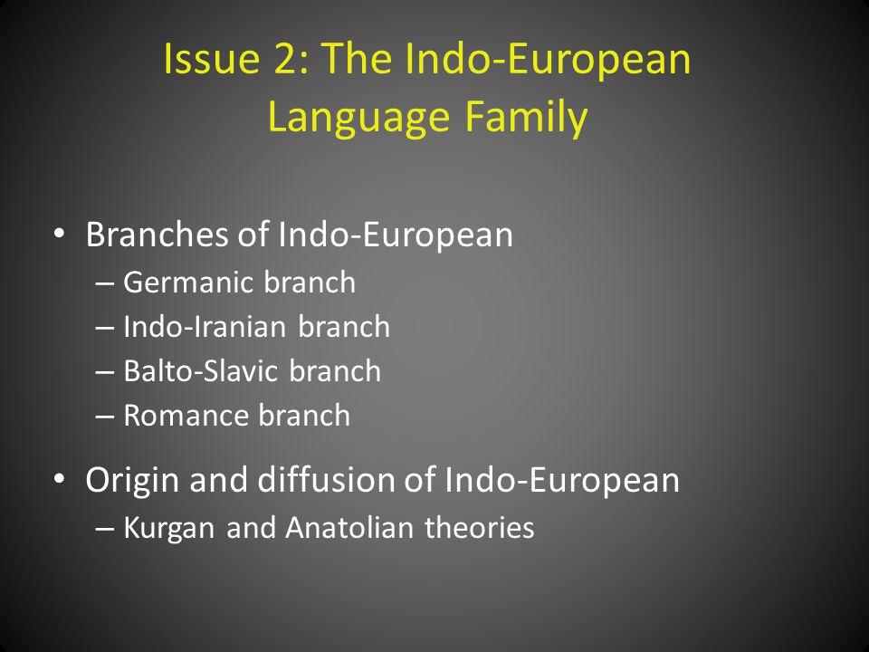 Issue 2: The Indo-European Language Family Branches of Indo-European – Germanic branch – Indo-Iranian branch – Balto-Slavic branch – Romance branch Origin and diffusion of Indo-European – Kurgan and Anatolian theories