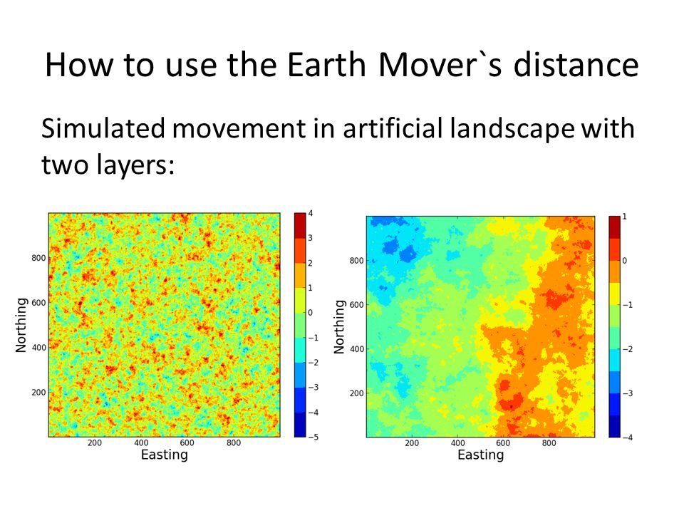 How to use the Earth Mover`s distance Simulated movement in artificial landscape with two layers:
