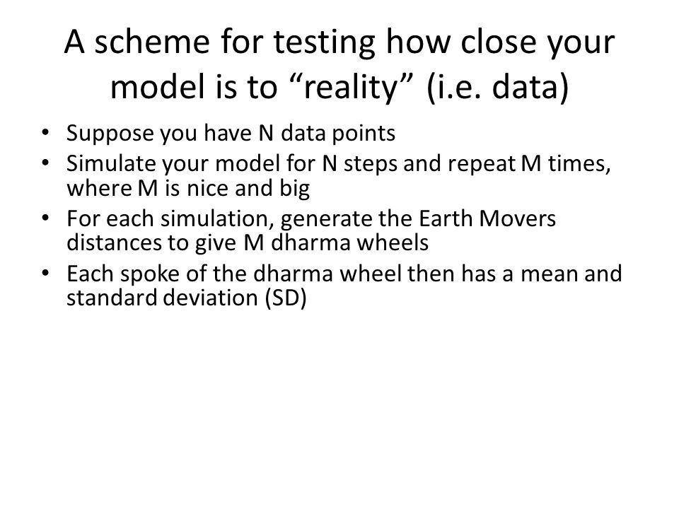 A scheme for testing how close your model is to reality (i.e.