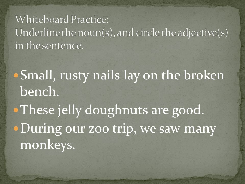 Small, rusty nails lay on the broken bench. These jelly doughnuts are good.
